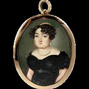 Rare Fine French Empire Portrait Miniature, 15k Gold Frame, Pearl Tiara, Diadem