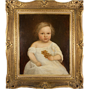 SALE Antique French Oil Painting on Stretched Linen Canvas, In Frame, Boy, Child c. 1830s