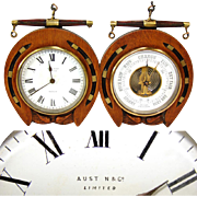 SALE Antique Victorian to Edwardian Era Desk Clock & Barometer, Horseshoe Shape Oak Case: ...