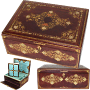 "SALE Superb Antique Victorian Gilt Embossed Leather 13.5"" Writer's Box, Compendium, Opule"