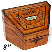 "SALE Antique Georgian Era ""Envelopes"" Stationery Casket, Box with Cut Steel Pique &"