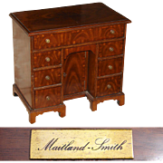 "SALE Rare Vintage Maitland Smith 16.5"" Miniature Desk Shaped Jewelry Chest, Mahogany Vene"