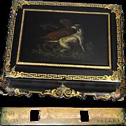SALE Rare Antique Victorian Era English Papier Mache Man's Jewelry Chest, Hunting Dogs Paintin