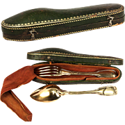 SALE RARE Antique French Sterling Silver & 18K Gold Vermeil Travel Set, Leather Etui, Veillard