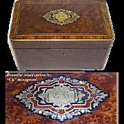 "SALE Fab LG Antique Napoleon III Burled 10"" Tea or Desk Box, CK Monogram"