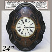 "SALE Antique French Marquetry Boulle Inlay 24"" Parlor Clock"