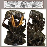 SALE LG Antique Black Forest Cigar Caddy, Mountain Goat & Fox!