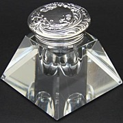 SOLD Antique Brilliant Cut Crystal & Sterling Silver Inkwell, a Pyramid !