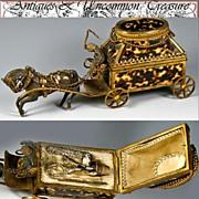 SALE RAREST 1820-40 Palais Royal Sewing Etui - Faux Tortoise Shell & French Dore Bronze ...