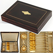 SALE Antique French 18K Gold Vermeil on .800/1000 Silver 15pc Tea Service, Rosewood Box