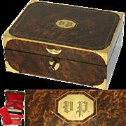 SALE Museum Antique Napoleon Era Campaign Dressing Box, Rich Burl & Brass