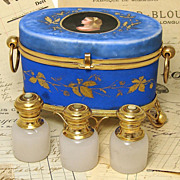SALE Superb Antique HP Porcelain Perfume Casket, 3 Opaline Scents