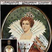 SALE Antique Royal Portrait, Crown Frame, Mary, Queen of Scots