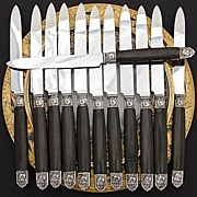 SALE Antique Art Nouveau 12pc Dinner Knife Set, Silver & Ebony Handles