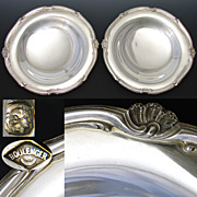 """SALE PAIR: 2 Antique French Sterling Silver 8.5"""" Plateau, Raised Compote or Tazza Serving"""