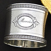 "SALE Antique French Sterling Silver Napkin Ring, ""Maurice"" Inscription"