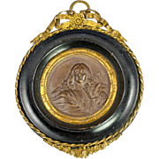 SALE Antique French Framed Plaque, Bronze Finish Chalk Medallion in Ormolu & Wood Frame