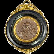 SALE Antique French Framed Plaque, Bronze Medallion in Ormolu & Wood Frame