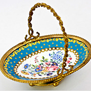 SOLD Antique French Kiln-fired Enamel Open Salt or Sweet Meat, Trinket Dish