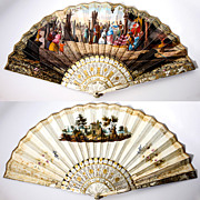 SALE PENDING Antique French Fan, Mother of Pearl, Gold, Hand Painted c. 1820