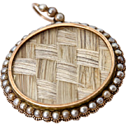 SALE Antique Georgian 18k Gold & Seed Pearl Large Locket Pendant, Hair Art Mourning