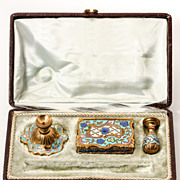 SOLD Antique French Champleve Enamel Desk Set, Candle Holder, Stamps Box, Wax Seal in Box