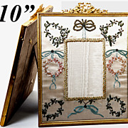 SOLD Antique French Large Photo Bow Top Frame with Silk and Embroidery Mat, Sequins, 10""