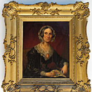 SALE Fine Attired Georgian to Victorian Lady, Portrait in Oil on Canvas, Original Frame 25""