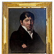 "SOLD Exceptional French Empire Portrait Painting in Oil, Frame, c. 1810 Bust Pose, 26"" x"