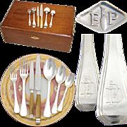 """SALE Elegant Vintage French PUIFORCAT 88pc Sterling Silver Flatware Set: Art Deco """"Beauli"""