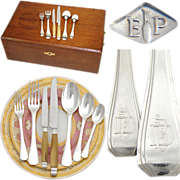 "SALE Elegant Vintage French PUIFORCAT 88pc Sterling Silver Flatware Set: Art Deco ""Beauli"