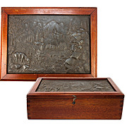 SALE Wonderful Antique Box, Bas Relief Cast of Stag, Mountain Scene Set into Lid, Cigars? Shel