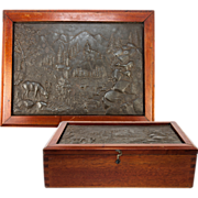 SALE Wonderful Antique Box, Bas Relief Cast of Stag, Mountain Scene Set into Lid, Cigars ...