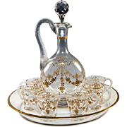 """SALE Antique French Baccarat or St Louis 11"""" Decanter, Tray & 6 Cups, Raised Gold ..."""