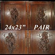 """SALE LG Antique Victorian Era 24"""" x 23"""" Black Forest Carved Oak Cabinet or Furniture"""
