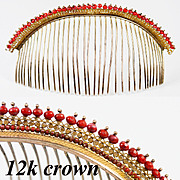 SALE Antique French Empire Tiara, Diadem, Crown in Red Coral and 12k, 9k Gold, RARE Comb