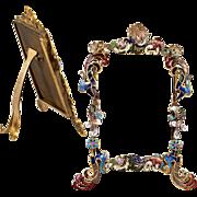 SOLD Antique French Kiln-fired Enamel Easel Frame, Carte de Visite c. 1860s