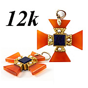 SALE Antique Victorian Era Maltese Cross, Carnelian and Pearl in 12K Yellow Gold Pendant