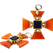 SALE Antique Victorian Era Maltese Cross, Carnelian and Pearl in 12K Yellow Gold Pendant
