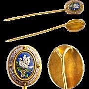 SALE Fine Antique Victorian Era Micro Mosaic Cravat or Stick Pin, 14k - 15k Gold Mount ...