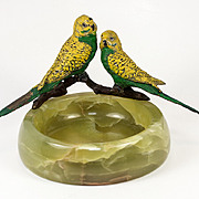 SALE Antique Cold Painted Austria or Vienna Bronze Parrots, Alabaster Ashtray Mount, Large