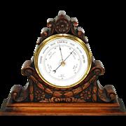 """SOLD Fine Antique Victorian to Edwardian Era Carved Oak 12 3/4"""" Desk or Mantel Barometer"""