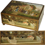 """SOLD Antique Hand Painted 9.5"""" Confectioner's, Cigar or Jewelry Box, Countryside Scene wi"""