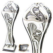 SOLD Fine Antique French Hallmarked Silver Wax Seal or Sceau: ART NOUVEAU Floral Style