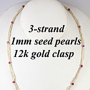 SALE Antique Georgian Era 12k Gold, 3-strand 1mm Seed Pearl and Amethyst Necklace, Excellent