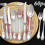 SALE Gorgeous Antique French Sterling Silver 60pc Flatware Set, 10pc Setting for SIX: Ornate L