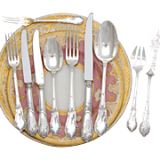 SALE Gorgeous Antique French Sterling Silver 60pc Flatware Set, 10pc Setting for SIX: Ornate .