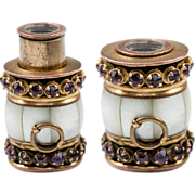 SOLD Antique Pendant 1-draw Monocular, Jeweled Mother of Pearl, Amethyst, 9k Gold