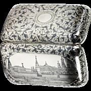 "SALE RARE c1889 Antique Russian Sterling Silver Niello Cigar Cheroot Case, Kremlin, ""84"""