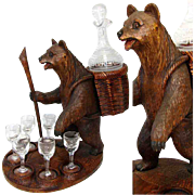 SALE Large Vintage Black Forest Bear is a Liqueur Tantalus, Stand: Decanter & 6 Cordials